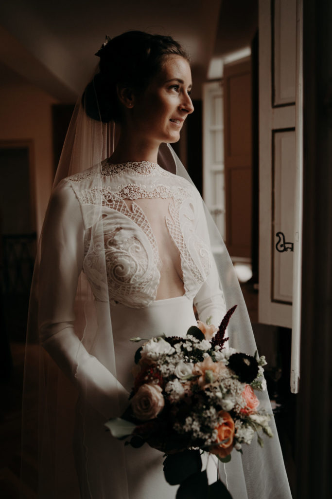 yolancris LaureneAndTheWolf vestido novia wedding dress crepe long sleeve white lace mermaid