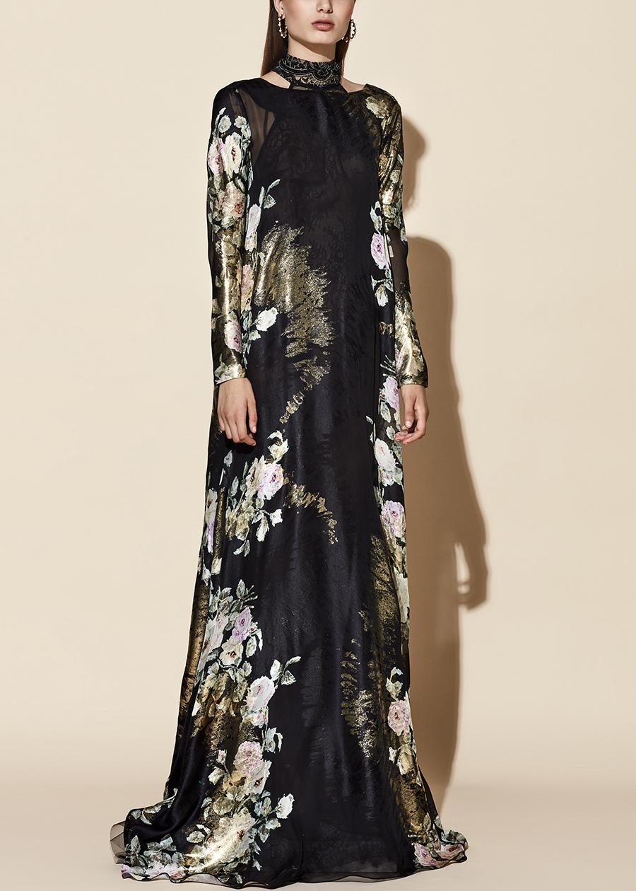 20-30_02 yolancris vestido negro flores fiesta evening dress black flowers lace