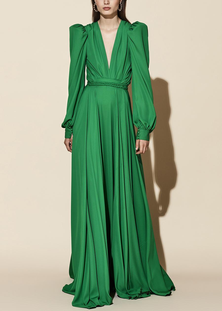 20-37 yolancris evening party retro green dress vestido fiesta verde 40s largo