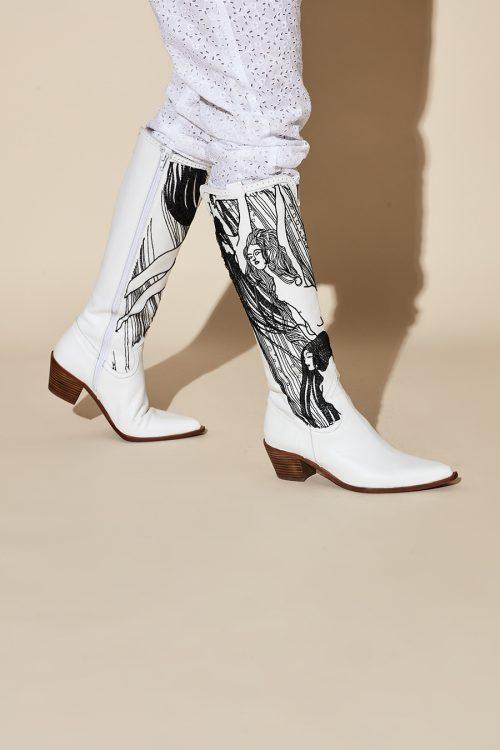 white cowboy western boots embroidered klimt 20-38 yolancris