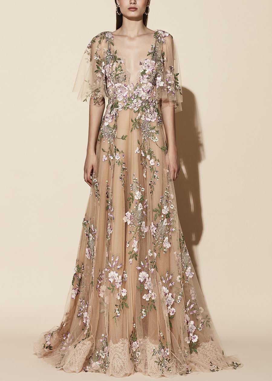 20-40 yolancris eveningwear party dress nude flower couture vestido fiesta