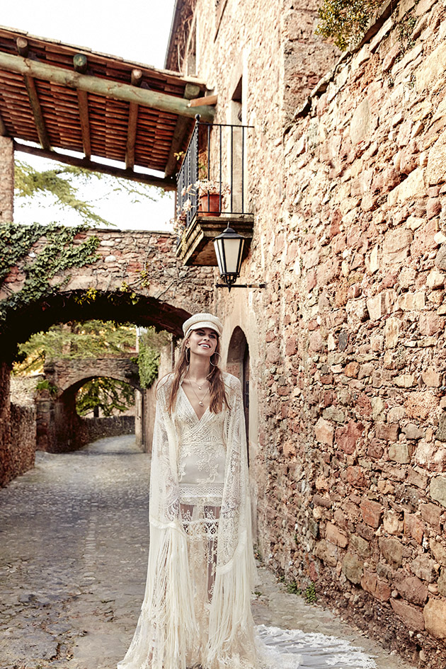 vestido de novia boho de manga larga