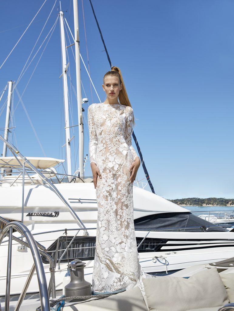 vestido de novia manga larga corte sirena