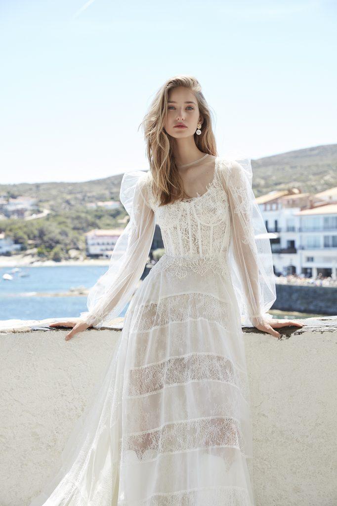 vestido de novia manga larga transparente