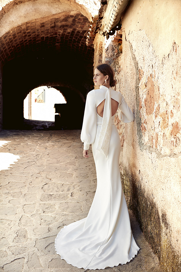 vestido de novia de manga larga sirena liso