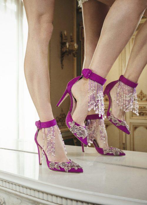 zapatos de tacon terciopelo rosa