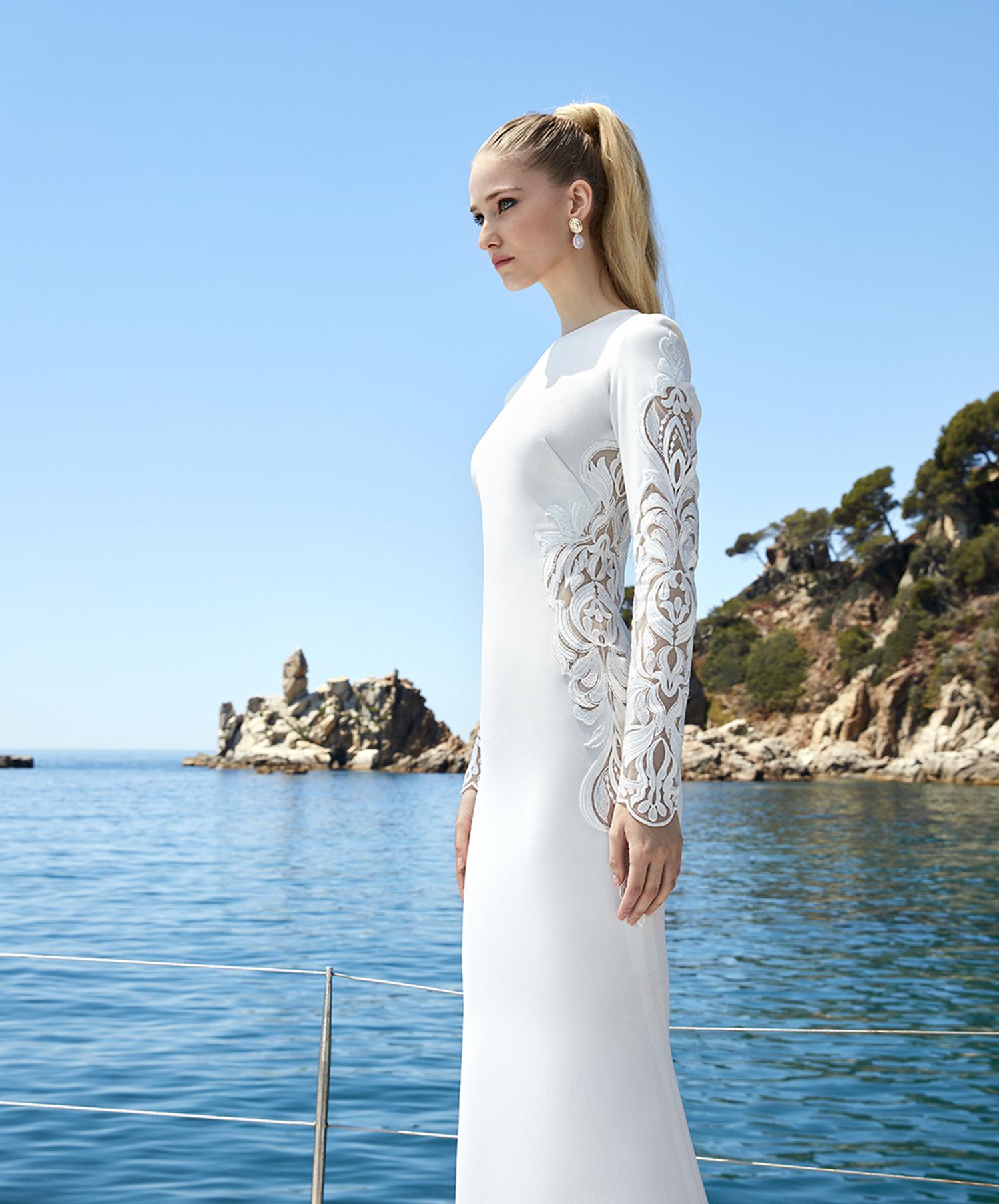 vestido de novia de manga larga sirena