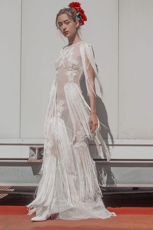vestido de novia sirena encaje sin espalda