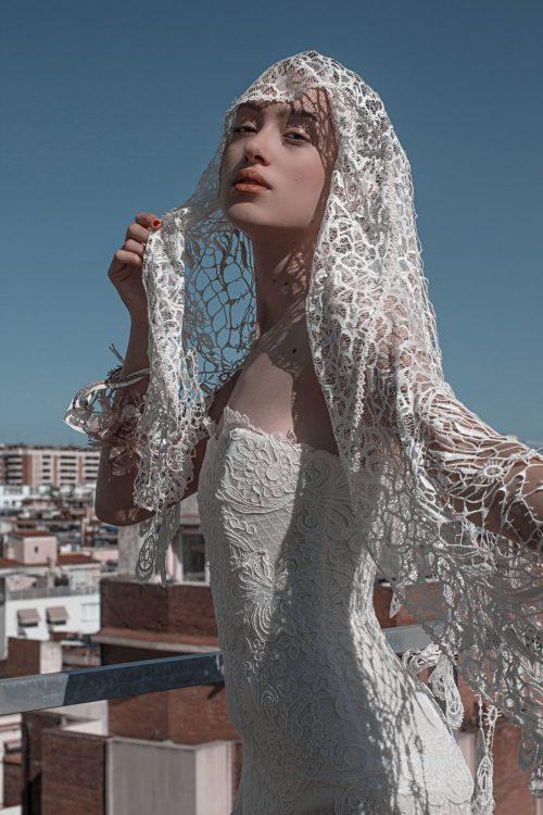 vestido de novia palabra de honor de encaje