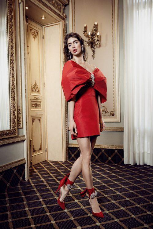 vestido corto fiesta lazo rojo