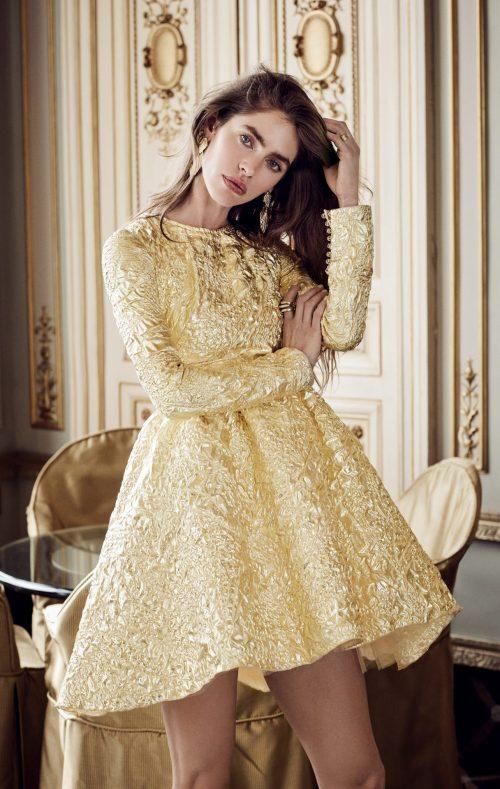 vestido corto manga larga fiesta dorado