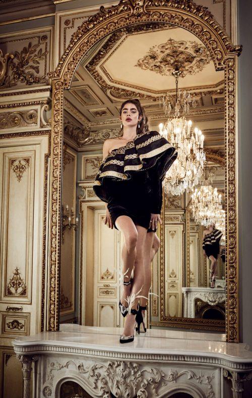 vestido corto fiesta volantes negro dorado