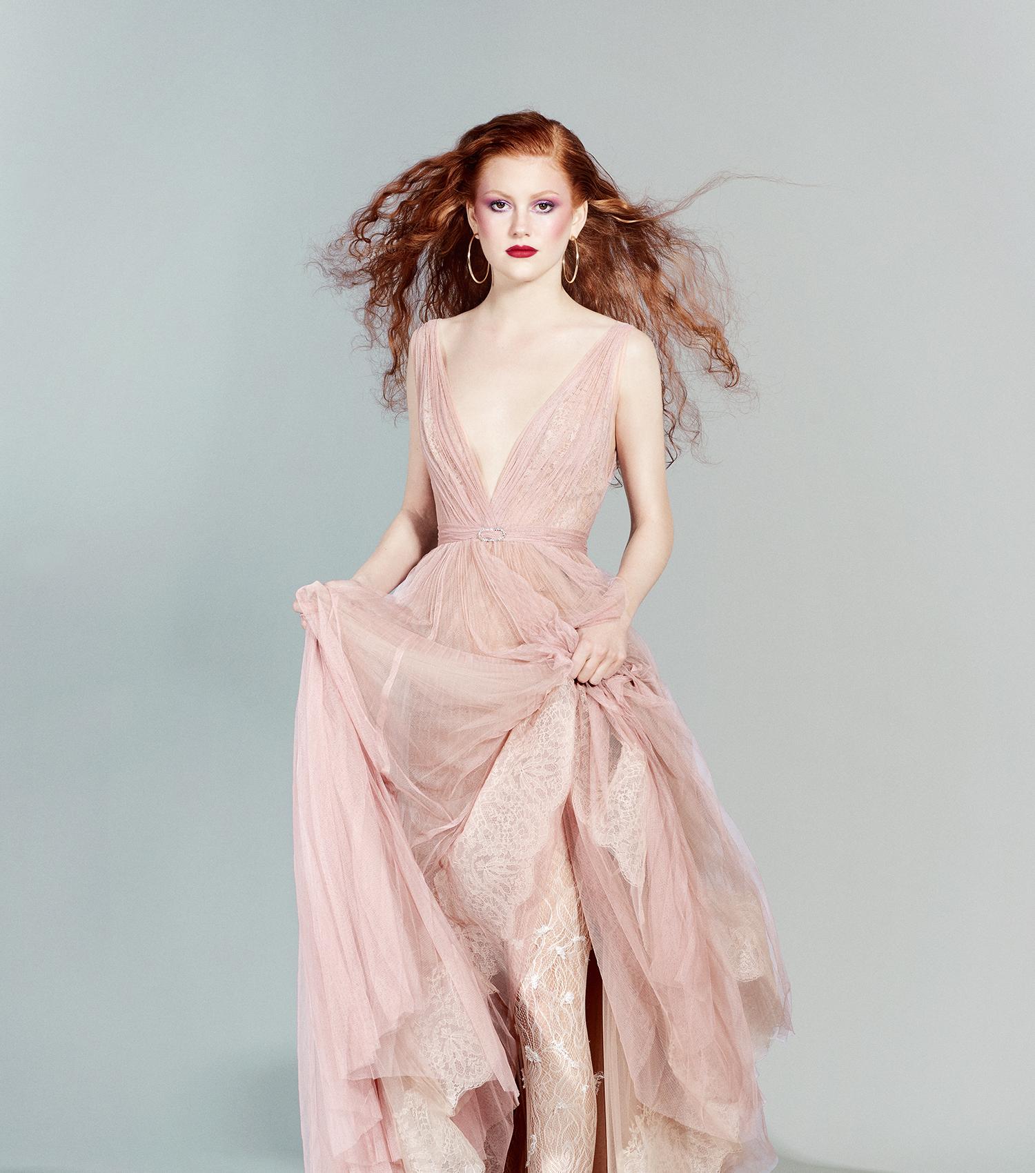 vestido de dama de honor rosa