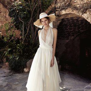 vestido de novia boho halter de tul y encaje