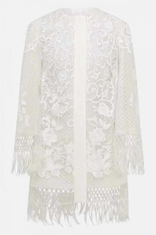 white jacket womens fringe macrame